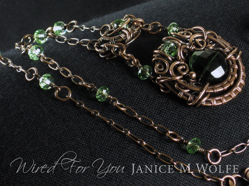 Copper and Emerald Quartz Necklace with Bohemian Crystals
